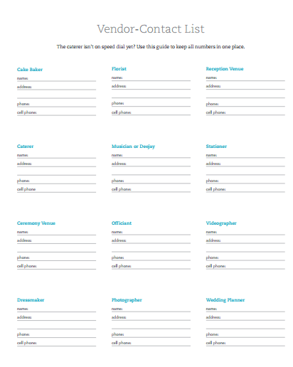 vendor contact list template contact list template several