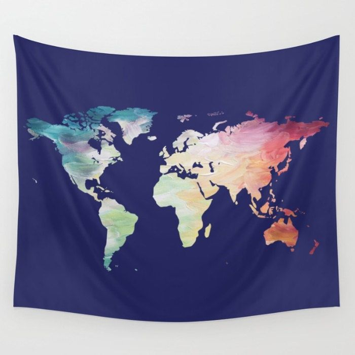 World Map Tapestry Wall Hanging map tapestry, navy tapestry, world map wall hanging, globe