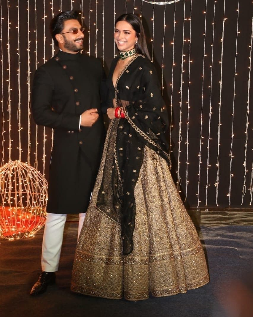 Newly Wed Couple Deepika Padukone And Ranveer Singh At Priyanka Chopra And Nick Jonas Wedding Reception Indian Reception Outfit Indian Bridal Sabyasachi Bridal