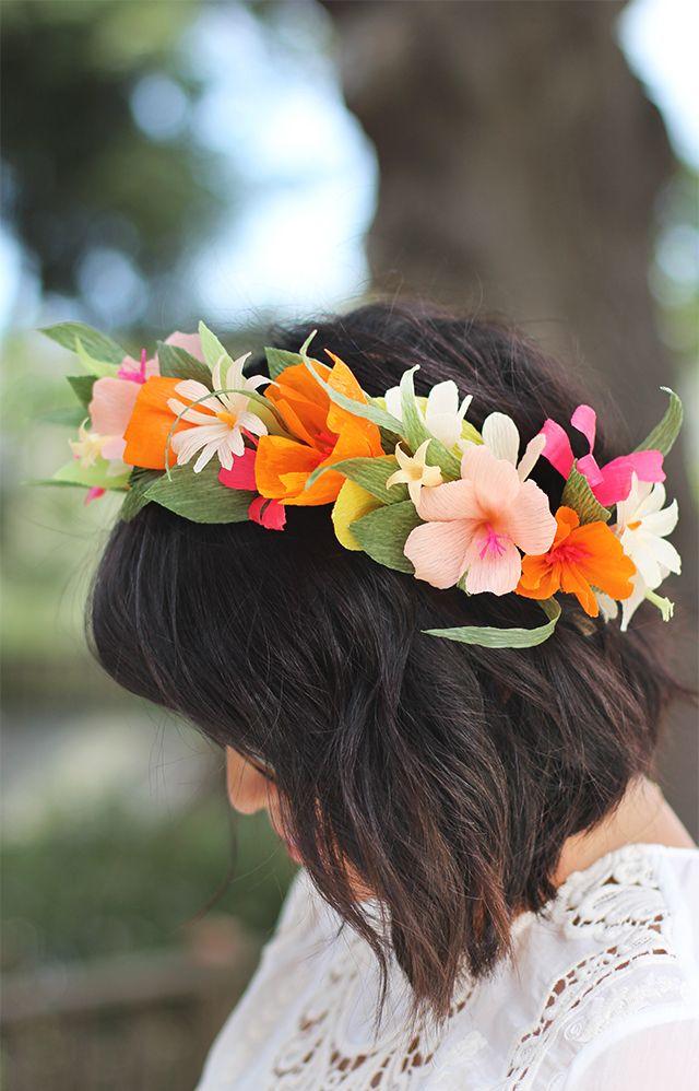 Diadema De Flores Con Papel Crepe Craft Coronas De Flores De