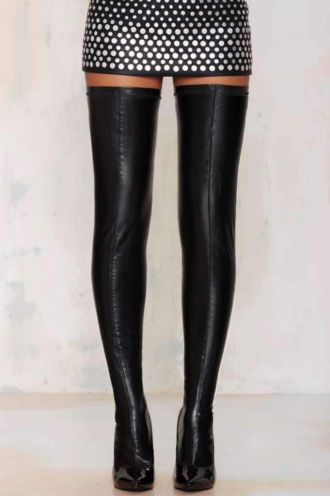 Nasty Gal Closer Thigh High Stiletto Boot - Black - Sale: Newly ...