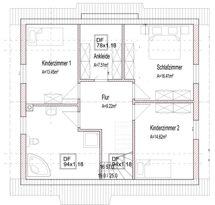 Grundriss Einfamilienhaus Dachgeschoss