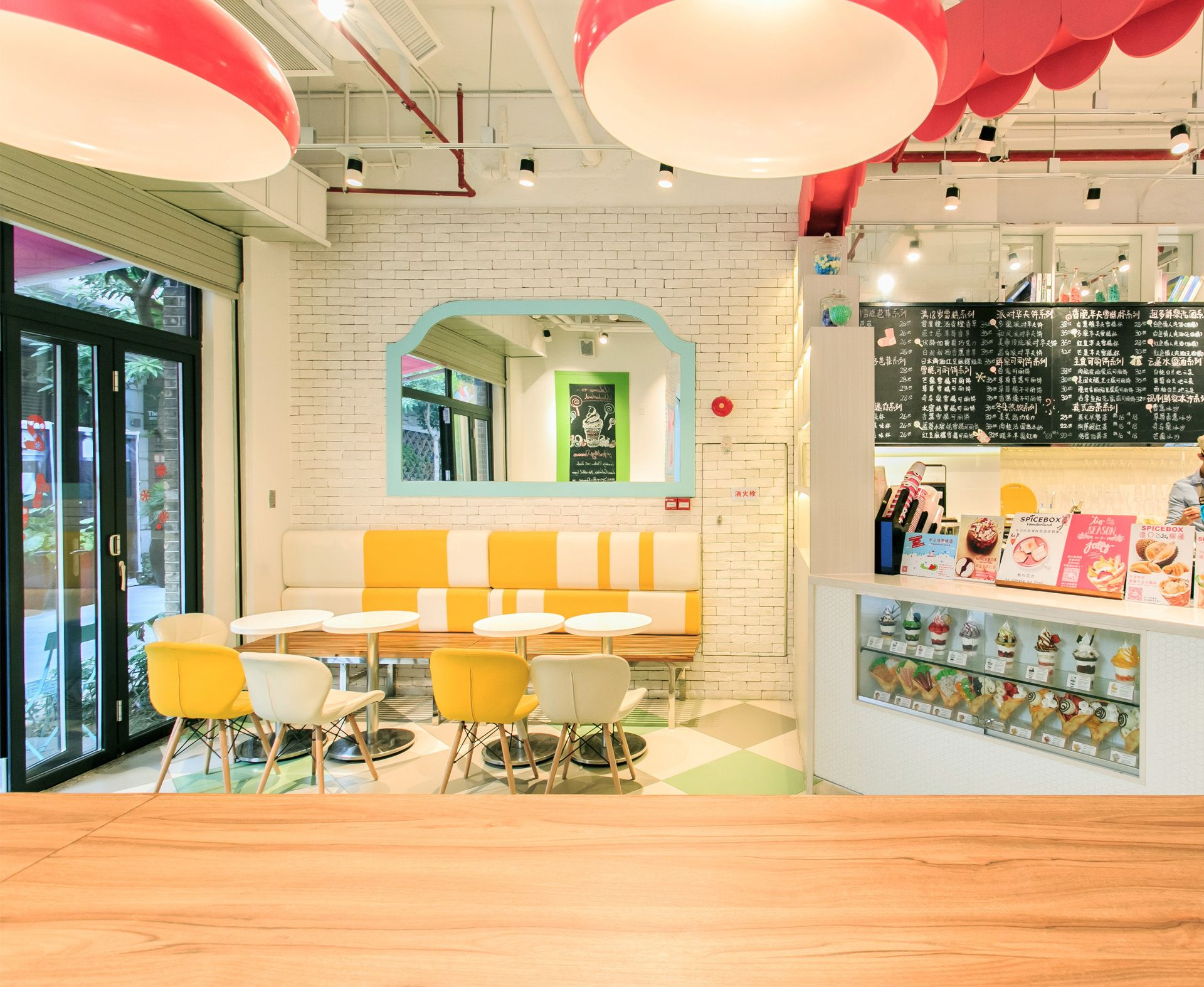 SPICE BOX | Candy shop, Wood doors and Colorful drinks