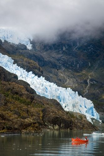 #Chile ~ A boat approaches Glacier Fernando in Fjord Calvo. Magellanes Province, Patagonia.