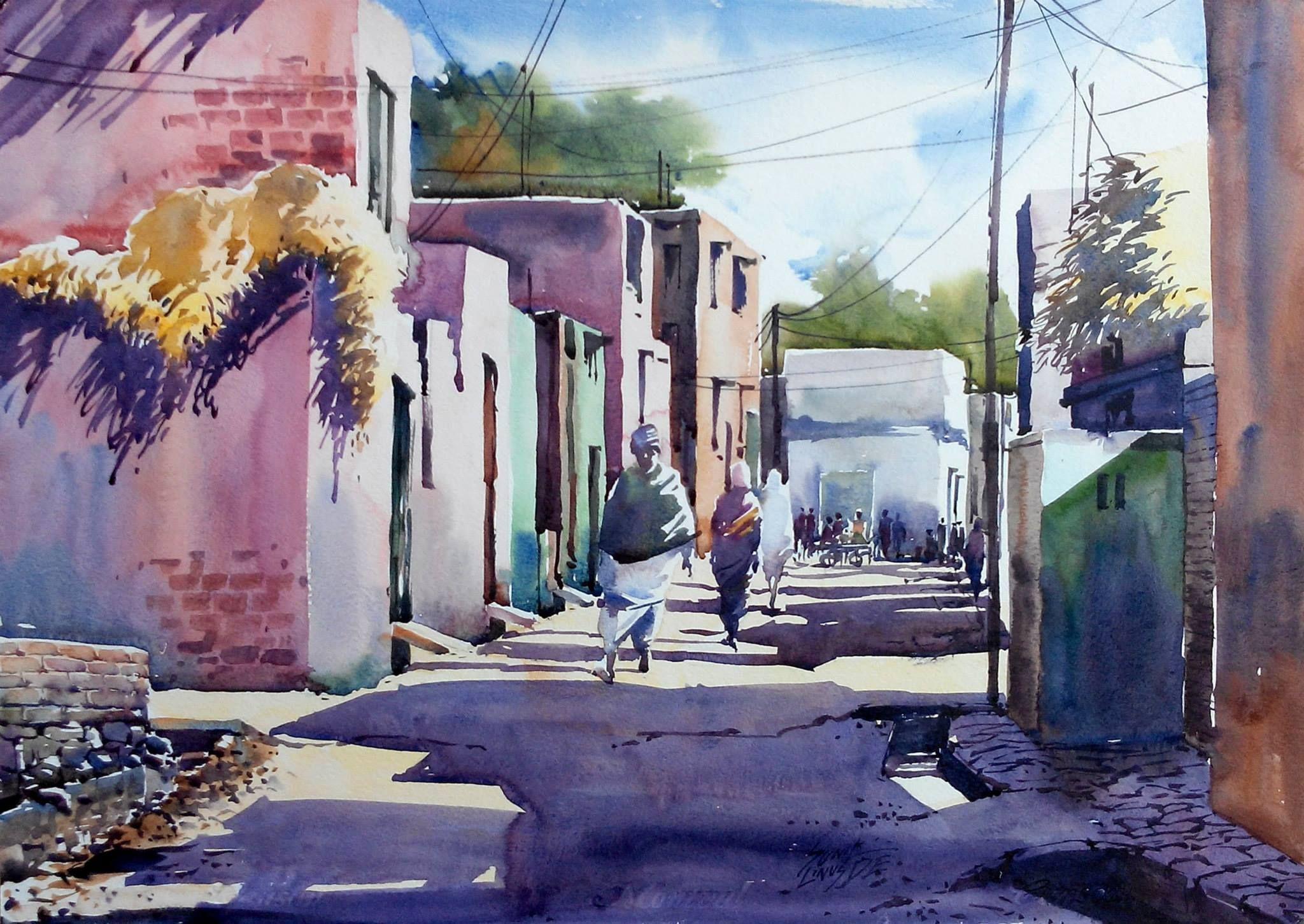 Sunil Linus De | Watercolor city, Watercolor landscape ...