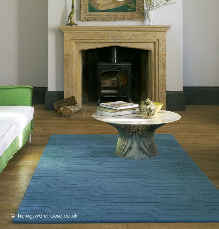 Circuit Teal Rug A Modern 100 Wool Plain With Geometric Carved Design