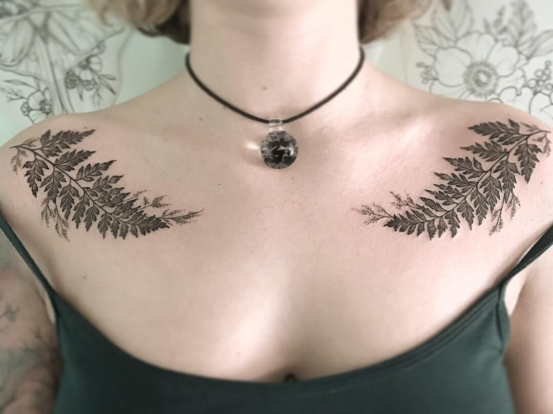 Mirroring fern tattoos by Ella Coose in Portland Maine at Wicked ...