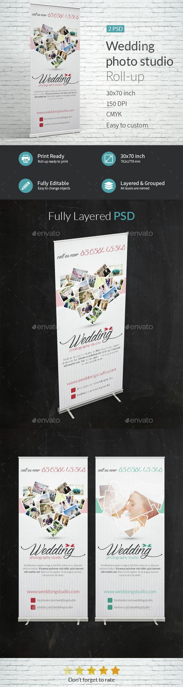 Wedding photo studio Roll-up Banner Template PSD. Download here ...