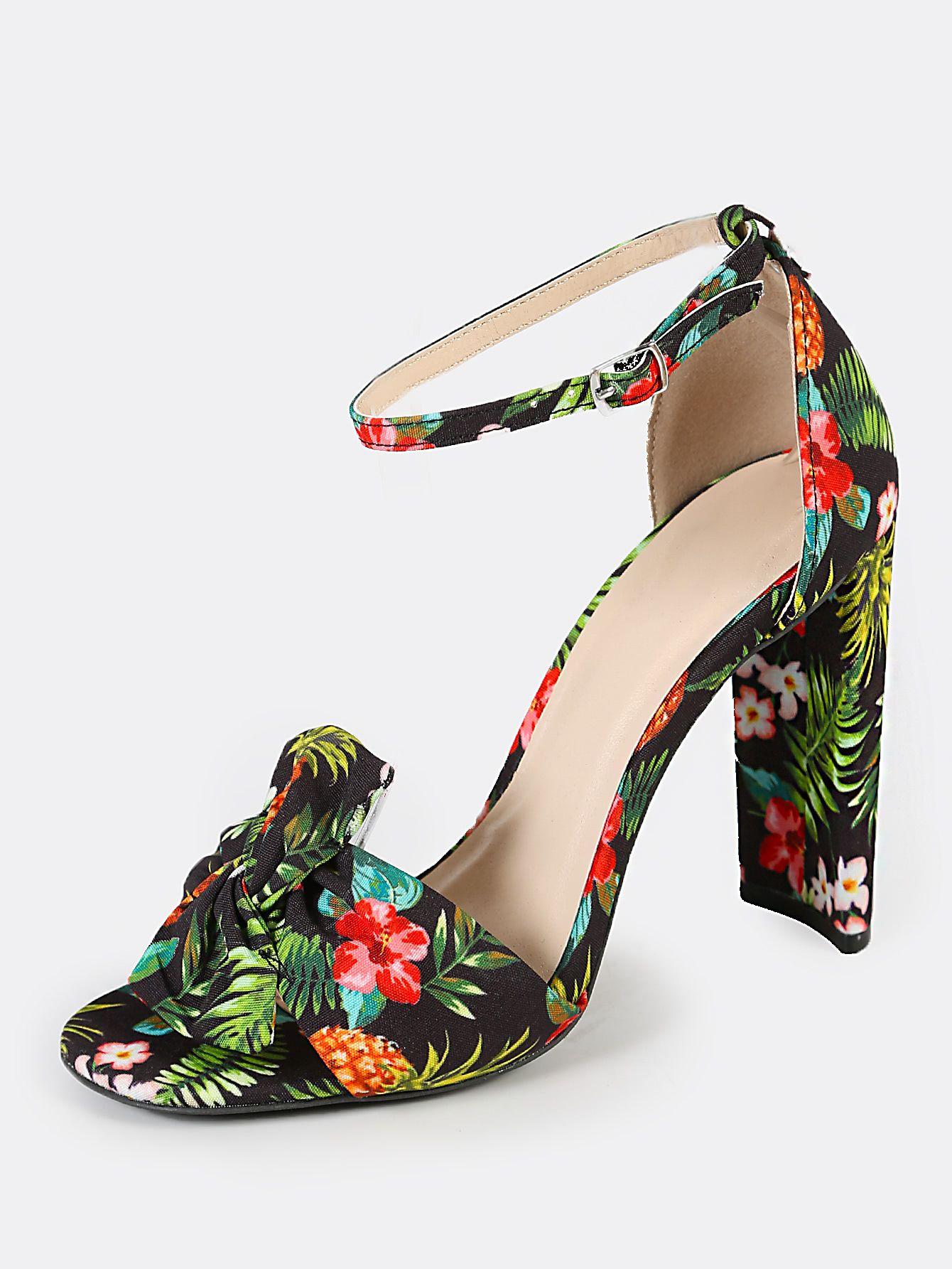 781c6d7d1fb4 Tropical Print Band Thin Ankle Cuff Peep Toe Heel BLACK MULTI Gift Ideas T  Shirt