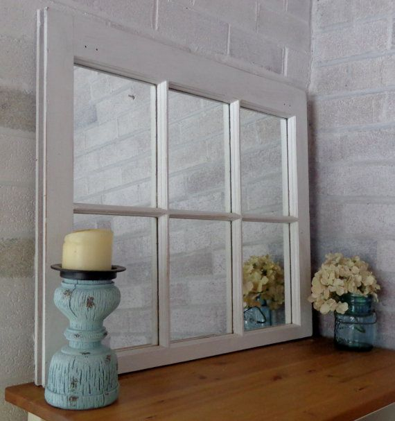 Rustic Country 6 Pane Window Mirror Lane Of Lenore Rustic Mirror Primitive Home Decor Available In 20 Colors Bright Ivory White Window Mirror Mirror Wall Decor