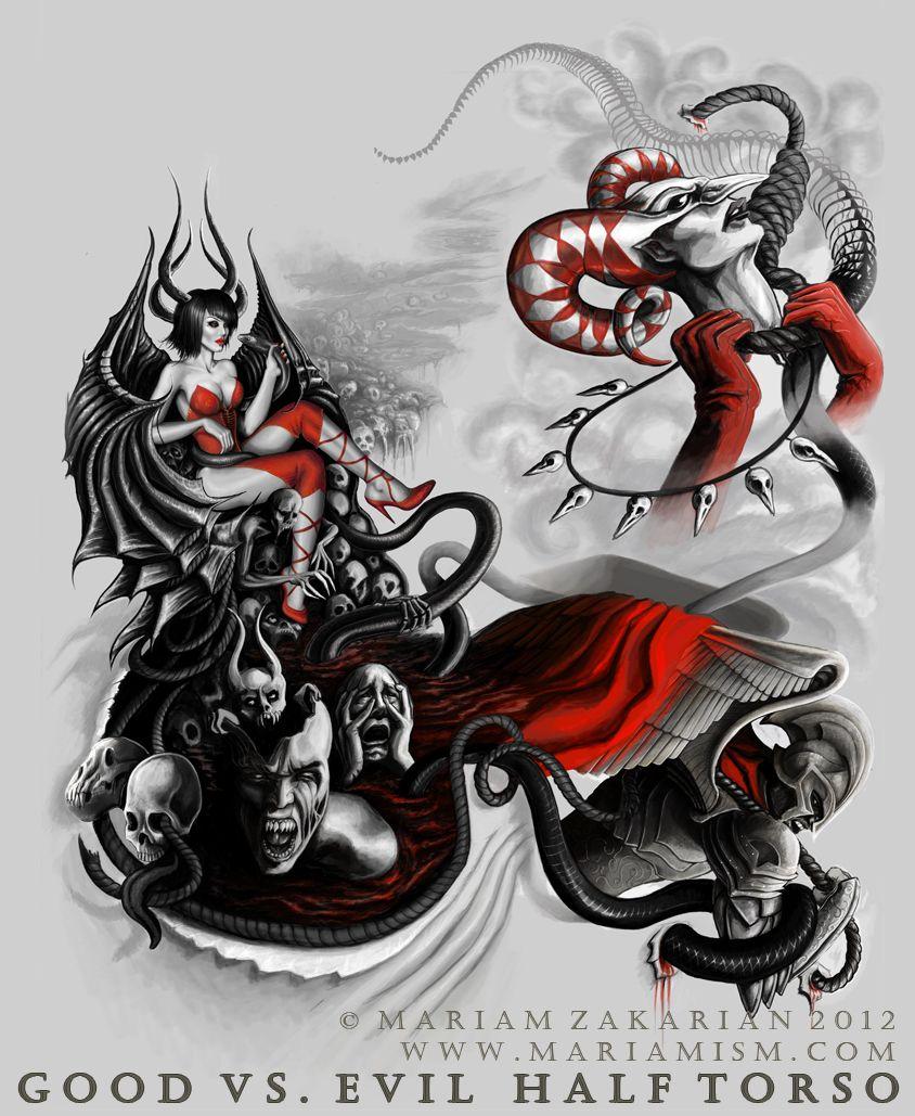 Evil Japanese Sleeve Tattoo Designs