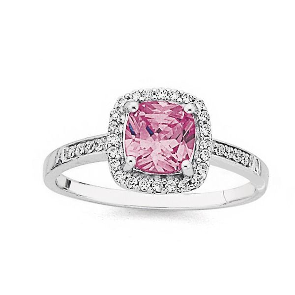 Sterling Silver Pink Cubic Zirconia Cushion Cluster Ring