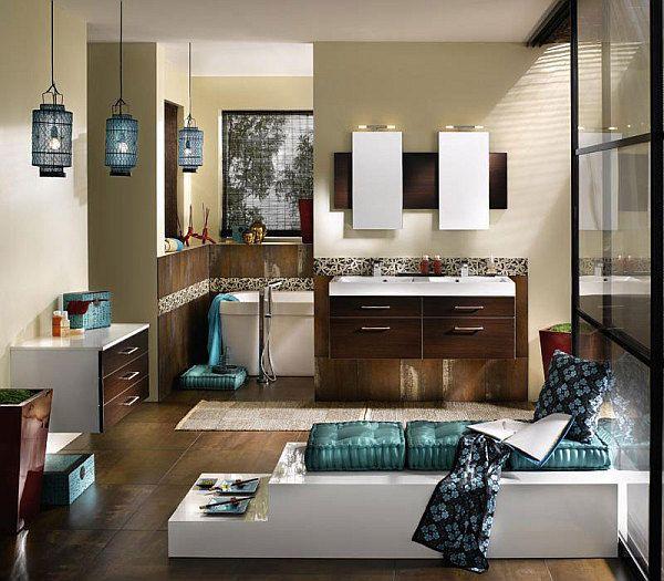 Badezimmer Gastaltung Türkis Blau Holz Orientalische Leuchten