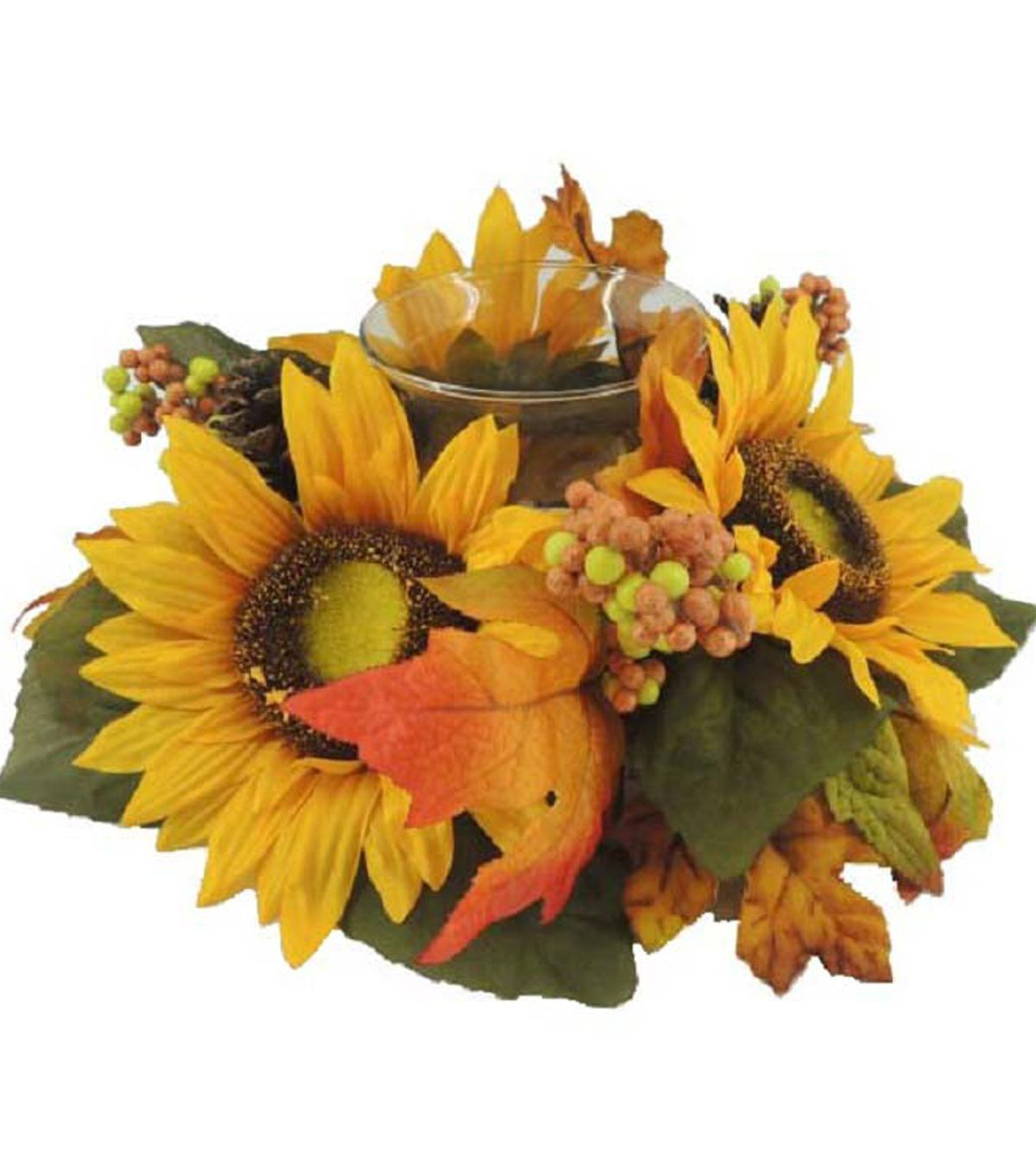 Blooming autumn uu sunflower u berries candle holder yellow