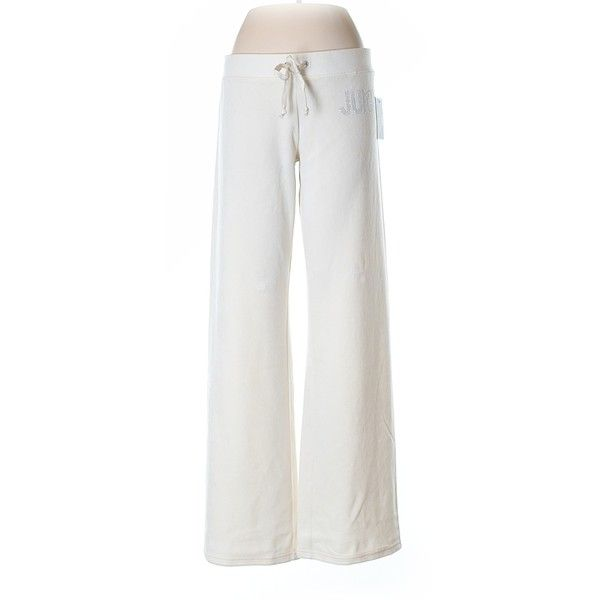 Juicy Couture Velour Pants (270 SEK) ❤ liked on Polyvore featuring pants, beige, juicy couture, white pants, beige pants, juicy couture pants and white velour pants