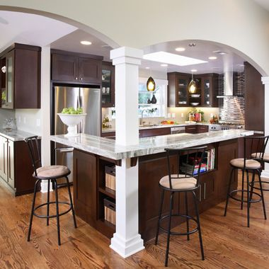 Arch Over Breakfast Bar Design Ideas Pictures Remodel And Decor Galley Kitchen Remodel Contemporary Kitchen Kitchen Layout