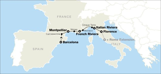 South Of France And Italy Map.Barcelona Southern France And The Italian Riviera Travel Spain