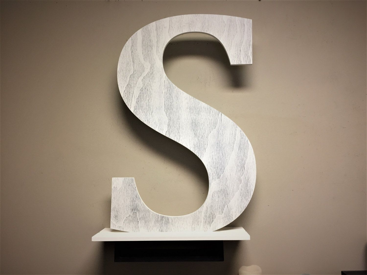 Free Standing Letter S Distressed White Large Wood Home Decor