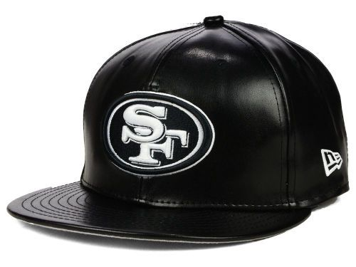 buy online 4037c d2903 San Francisco 49ers New Era NFL Leather Black White 9FIFTY Snapback Cap Hats
