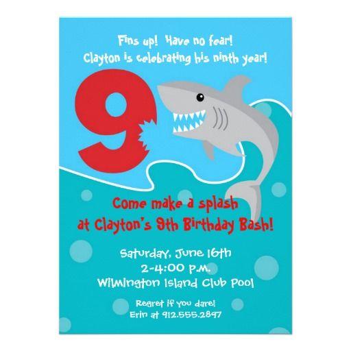 Shark Bite Invite 9th Birthday Party