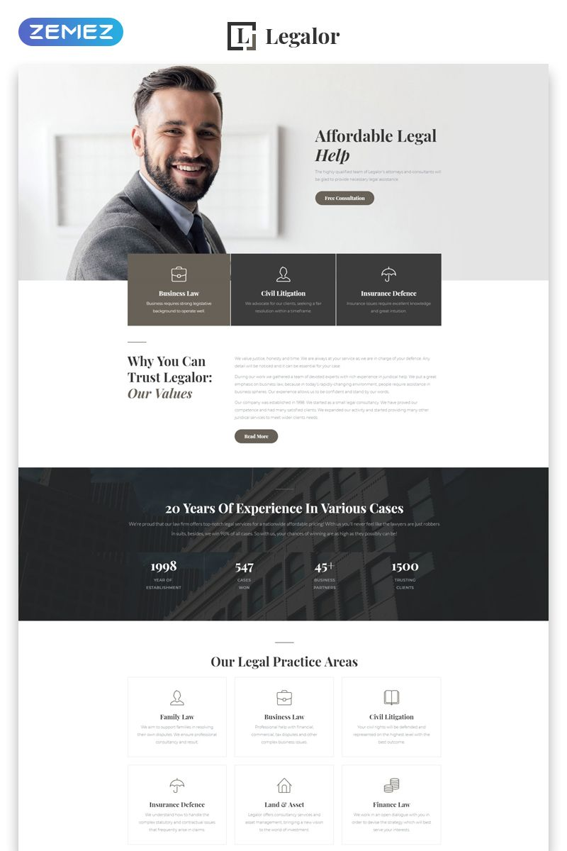 Legalor Classy Law Company Responsive Website Template Website