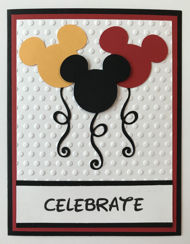 Handmade Mickey Mouse Balloon Card Disney Etsy Disney Birthday Card Birthday Cards Diy Birthday Cards