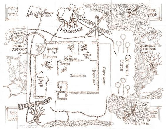Resultado De Imagen De Hogwarts Map Black And White Harry Potter