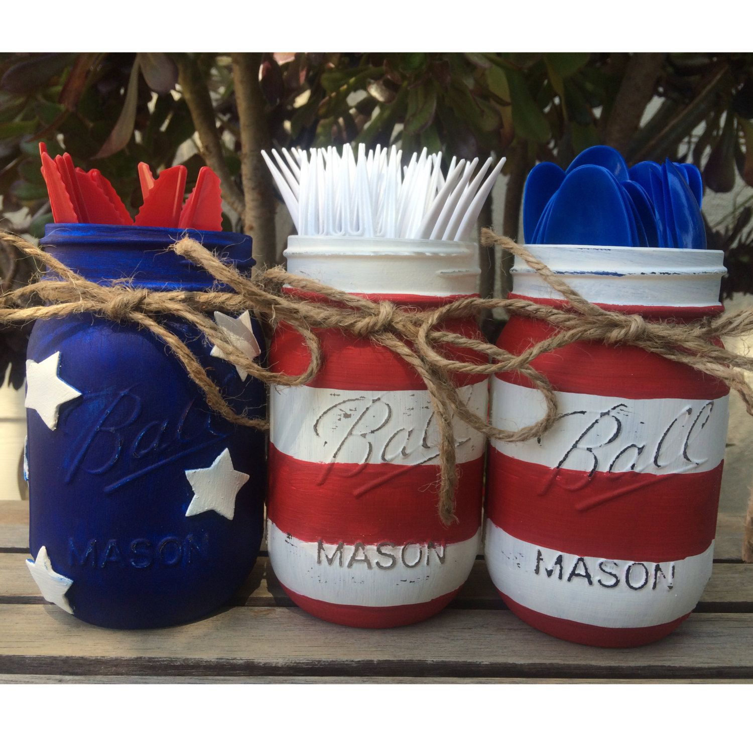 American flag painted mason jars red white and blue fourth of