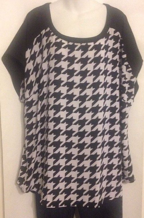 298b79e75b7 Lane Bryan Size 22/24 Tunic Black White BUTTON Back Houndstooth BLOUSE NWT$54.95  #LaneBryant #Tunic #Career