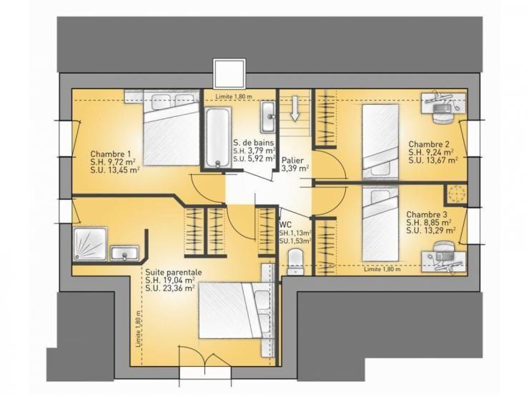 Plans De Maison : étage Modèle Lumina : Maison Traditionnelle En L à étage  De 3 Chambres + 1 Suite Parentale