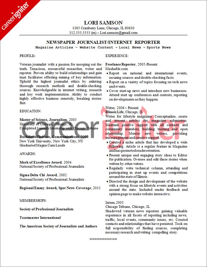 Resume Newspaper Writer