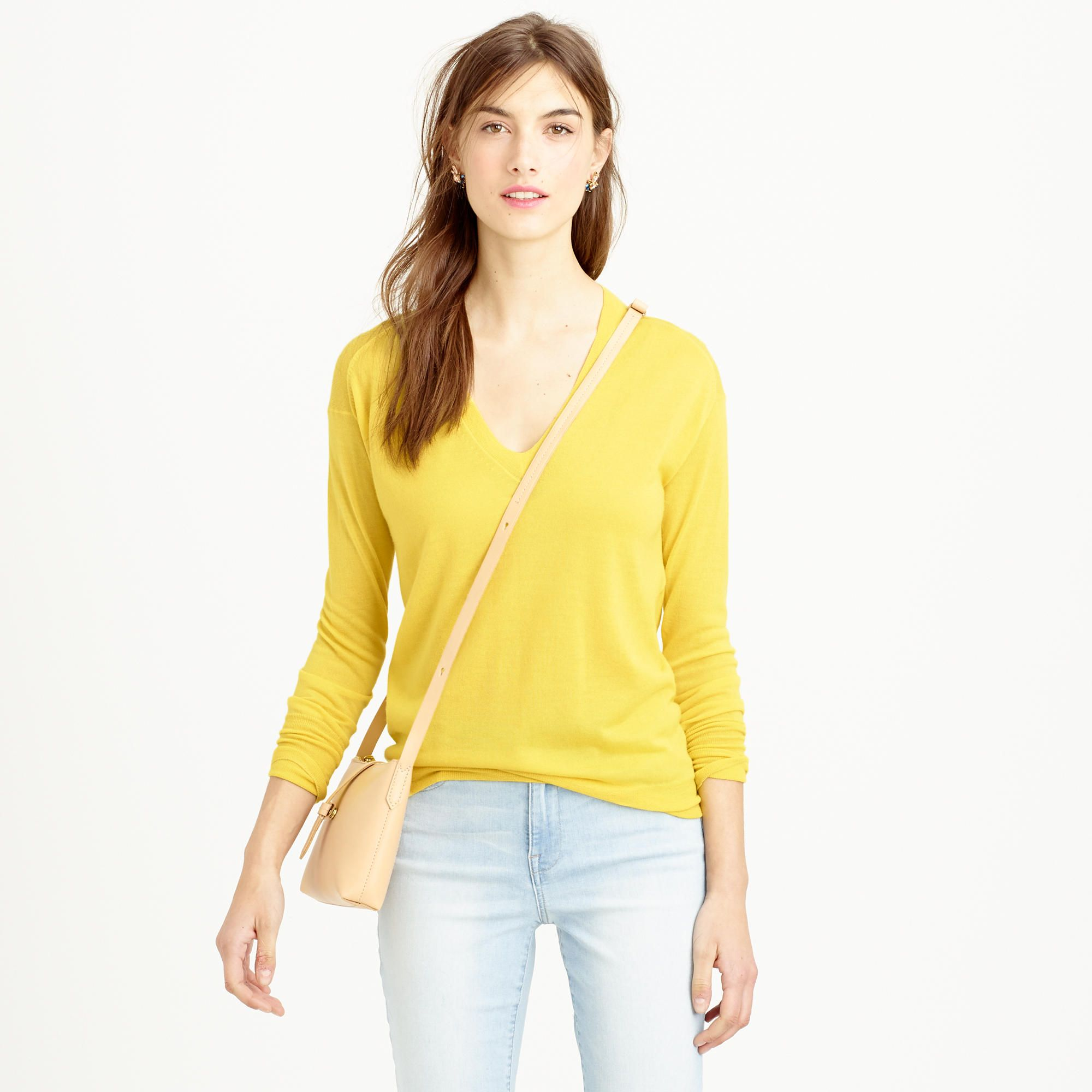 Collection featherweight cashmere V-neck boyfriend sweater ...