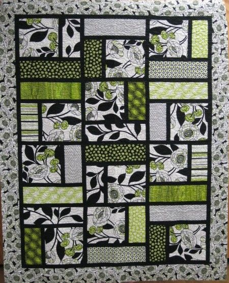 Denovo Quilt Black Lime Green Two Color Quilt Quilting
