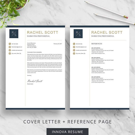 Cover Letter Template And Reference Page Template Includes A