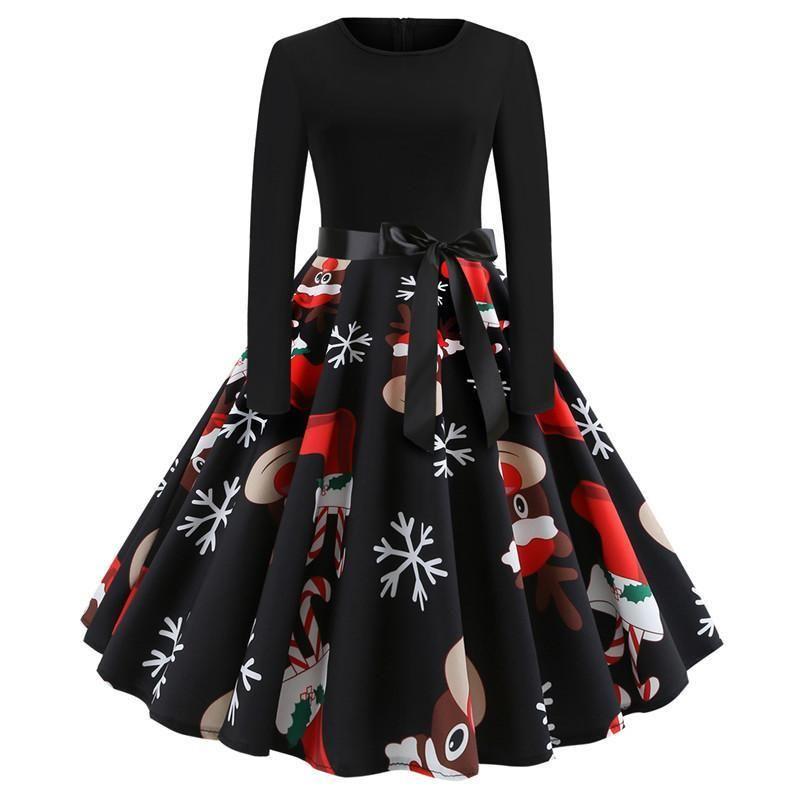 Vintage Elegant Waist Bow-knot Big Swing Christmas Dresses Womens