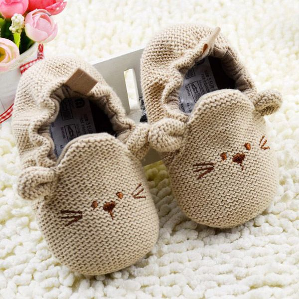b81376f95a7a Khaki Mouse Style Baby Shos Soft Sole Knitted Toddler Infant Shoes ...