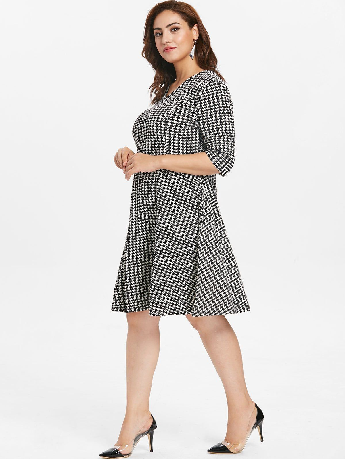 Plus Size Houndstooth Knee Length Dress | Women\'s ...