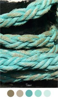 touw dik touw garen mooie kleuren voor in het interieur bruin aqua