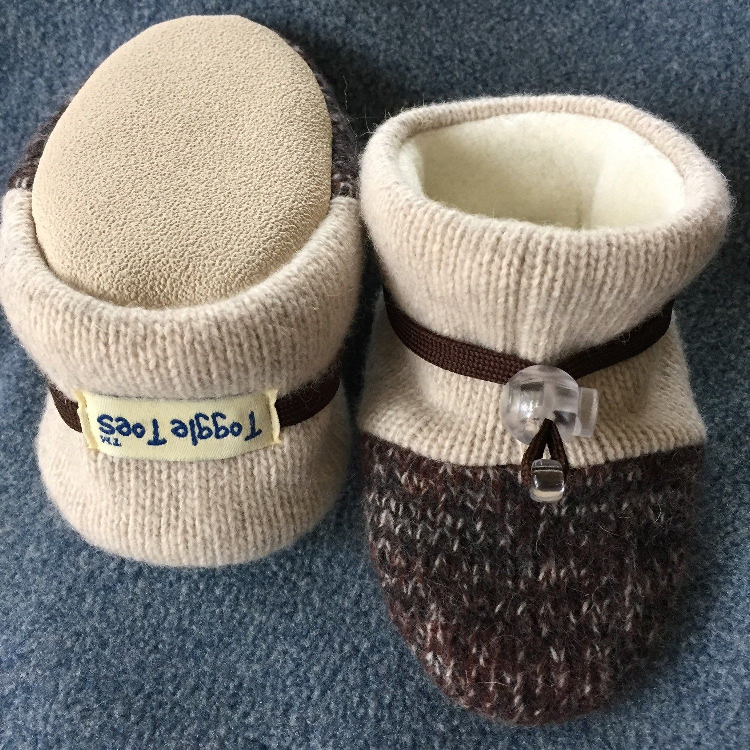 Wool baby slipper non slip soft sole shoe from Toggle Toes in