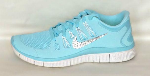 Nike Free Run 5.0 shoes Glacier Ice Night Factor Summit White with  Swarovski crystals cbb4abdaa