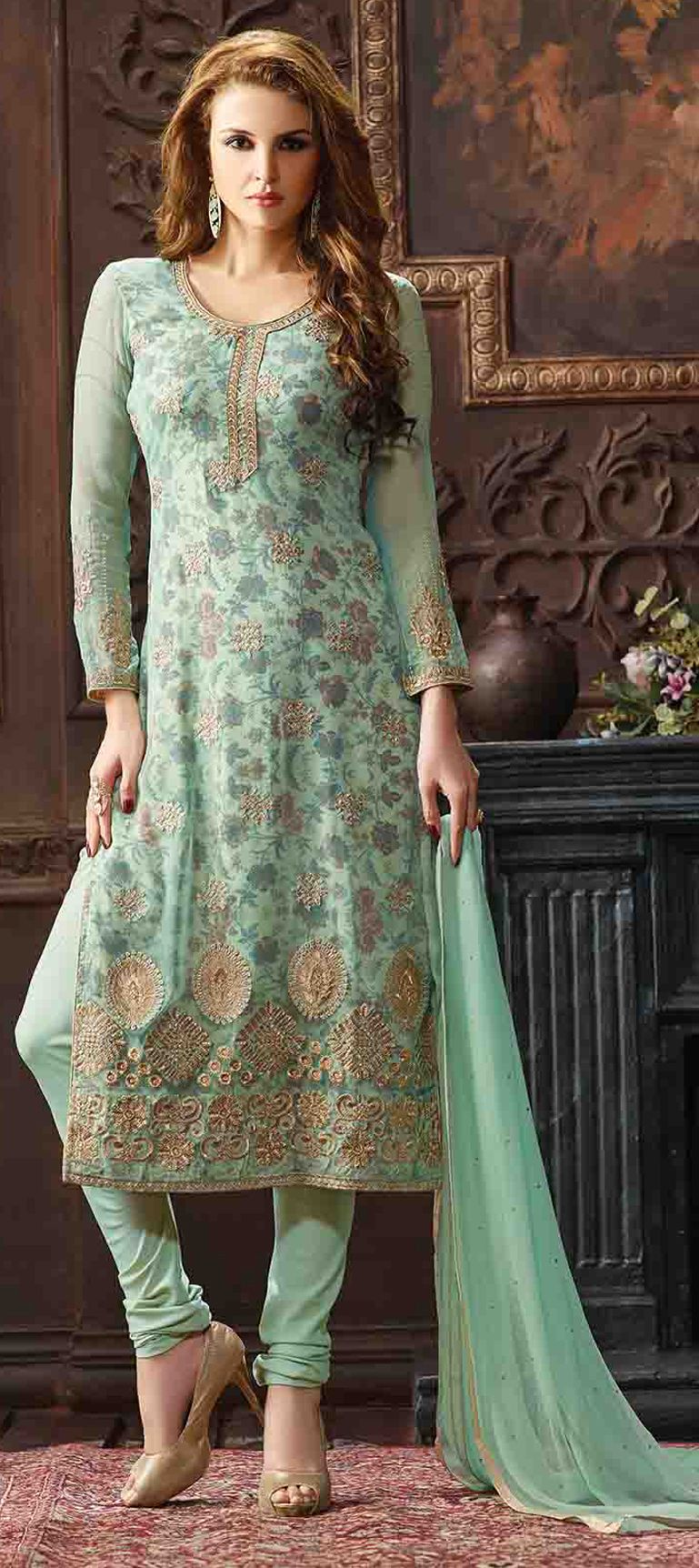 de269ee7a8 472504: Green color family unstitched Party Wear Salwar Kameez, Printed Salwar  Kameez .