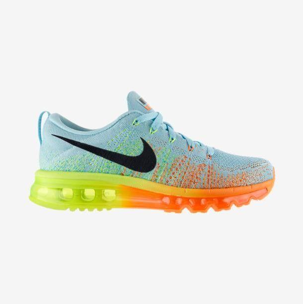 Nike Flyknit Air Max Damen Laufschuhe LichtBlau Orange Gelb