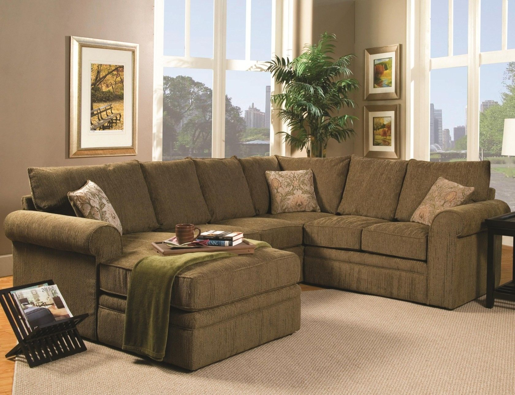 Olive Green Chenille Fabric Sectional Sofa