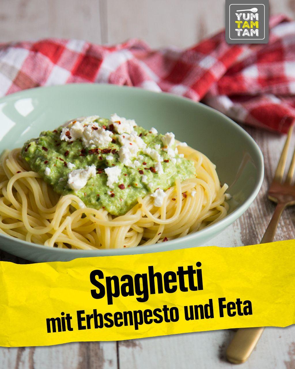 Spaghetti mit Erbsenpesto und Feta