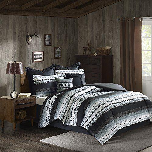 8 Piece Black Grey Southwest Comforter Queen Set Native American