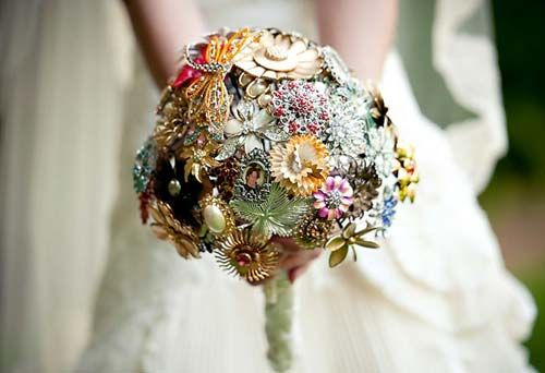 Colorful Flower Shaped Brooch Bridal Bouquet