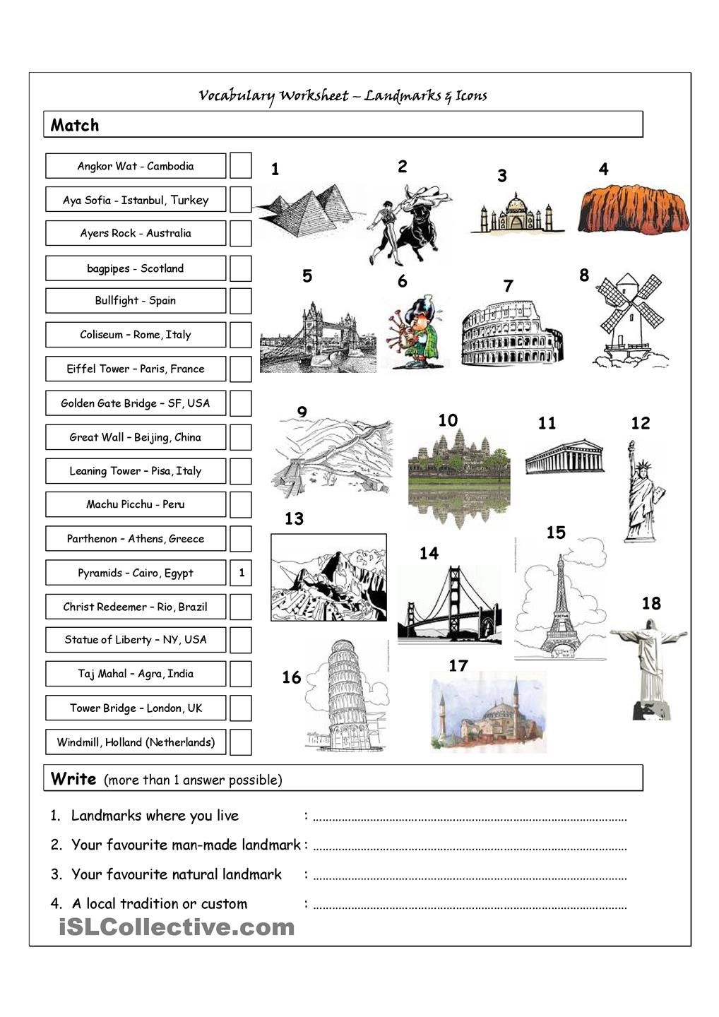 Vocabulary Matching Worksheet Landmarks Icons With Images