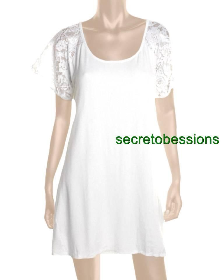 XS S M Victoria's Secret White Lace Sleeve/Back Cutout Tee Dress NEW $68 #VictoriasSecret #Casual
