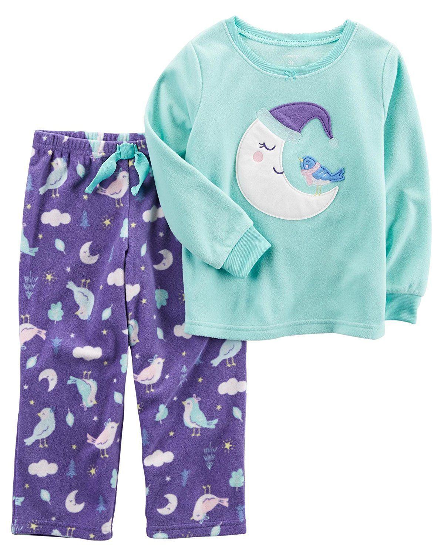 4c78306ec Amazon.com  Carter s Baby Girls  12M-12 2 Piece Moon Bird Fleece ...
