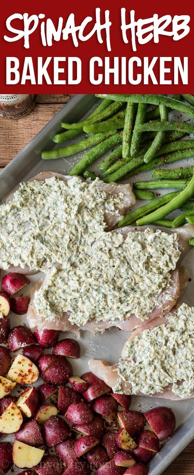 Spinach Herb Baked Chicken Recipe
